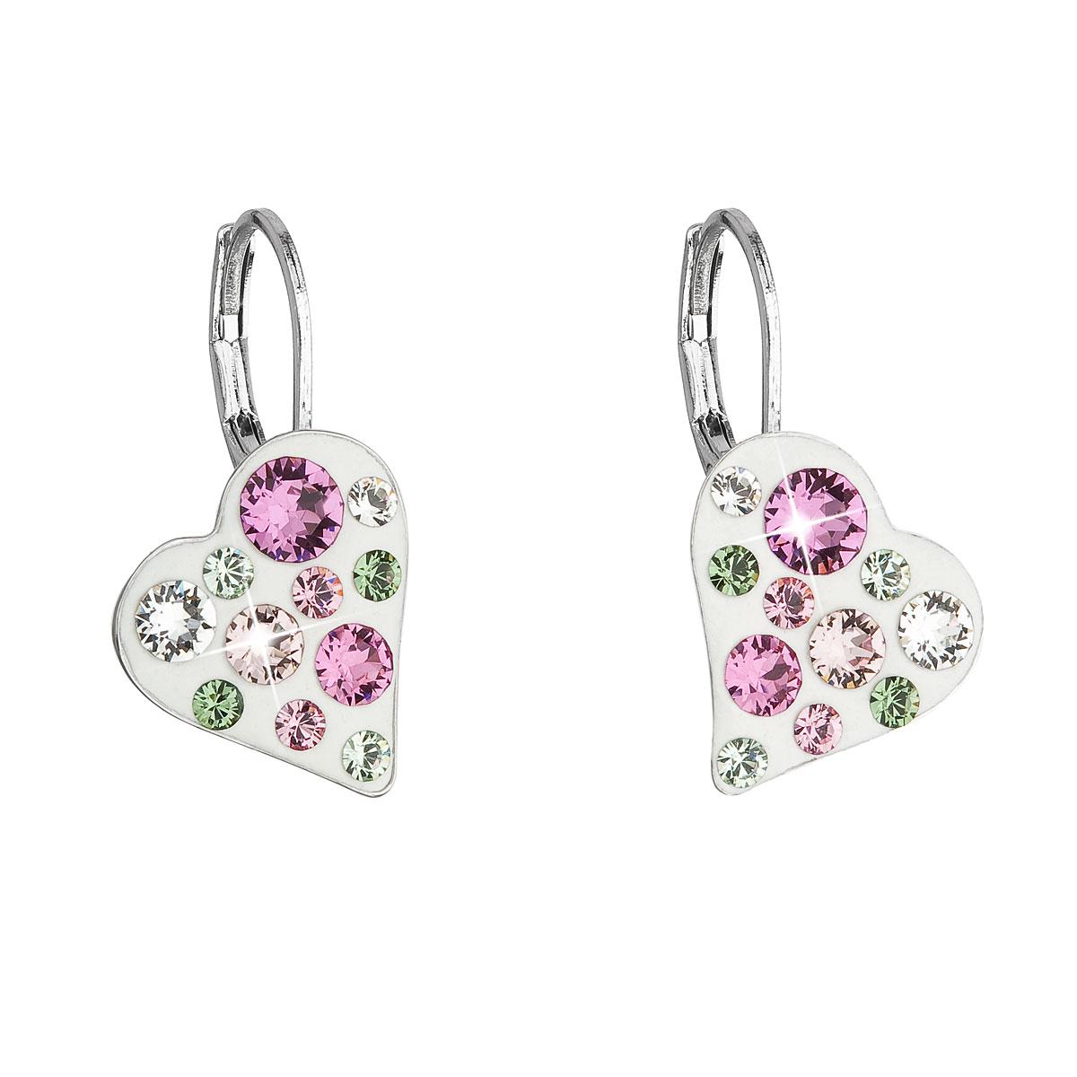 Náušnice bižutéria so Swarovski krištáľmi ružové srdce 51043.3 pink