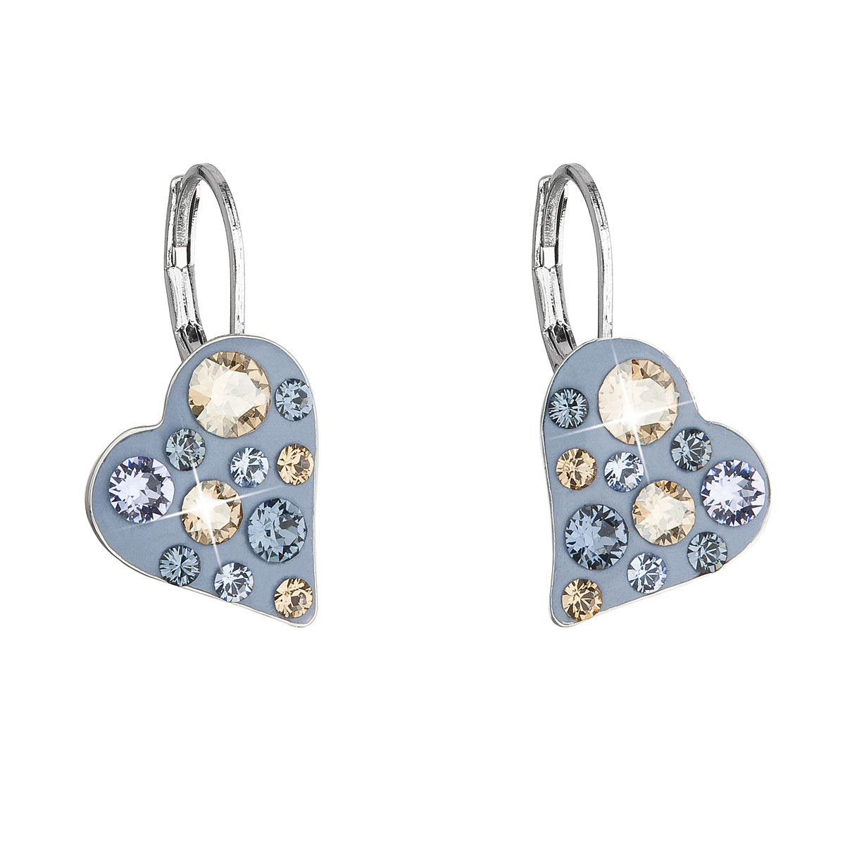 Náušnice bižutéria so Swarovski krištáľmi modré srdce 51043.3 denim