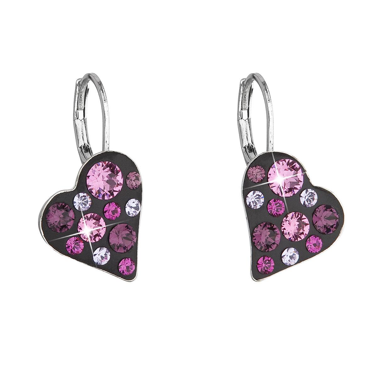 Náušnice bižutéria so Swarovski krištáľmi ružové srdce 51043.3