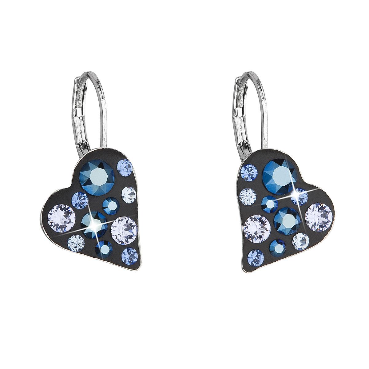Náušnice bižutéria so Swarovski krištáľmi modré srdce 51043.5 metalic blue