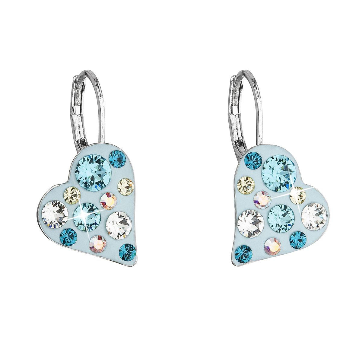 Náušnice bižutéria so Swarovski krištáľmi modré srdce 51043.3 tyrkys