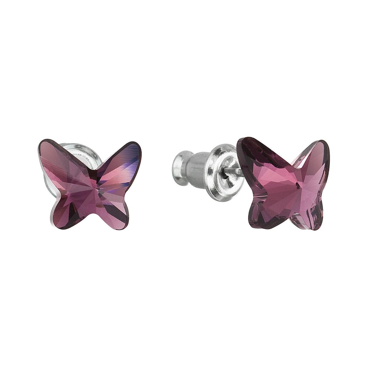 Náušnice bižutéria so Swarovski krištáľmi fialový motýľ 51048.3