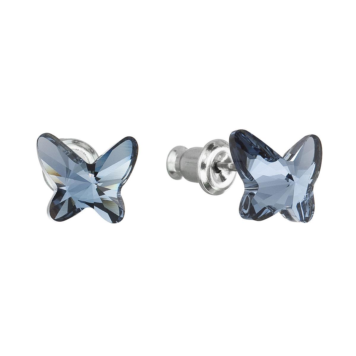 Náušnice bižutéria so Swarovski krištáľmi modrý motýľ 51048.3