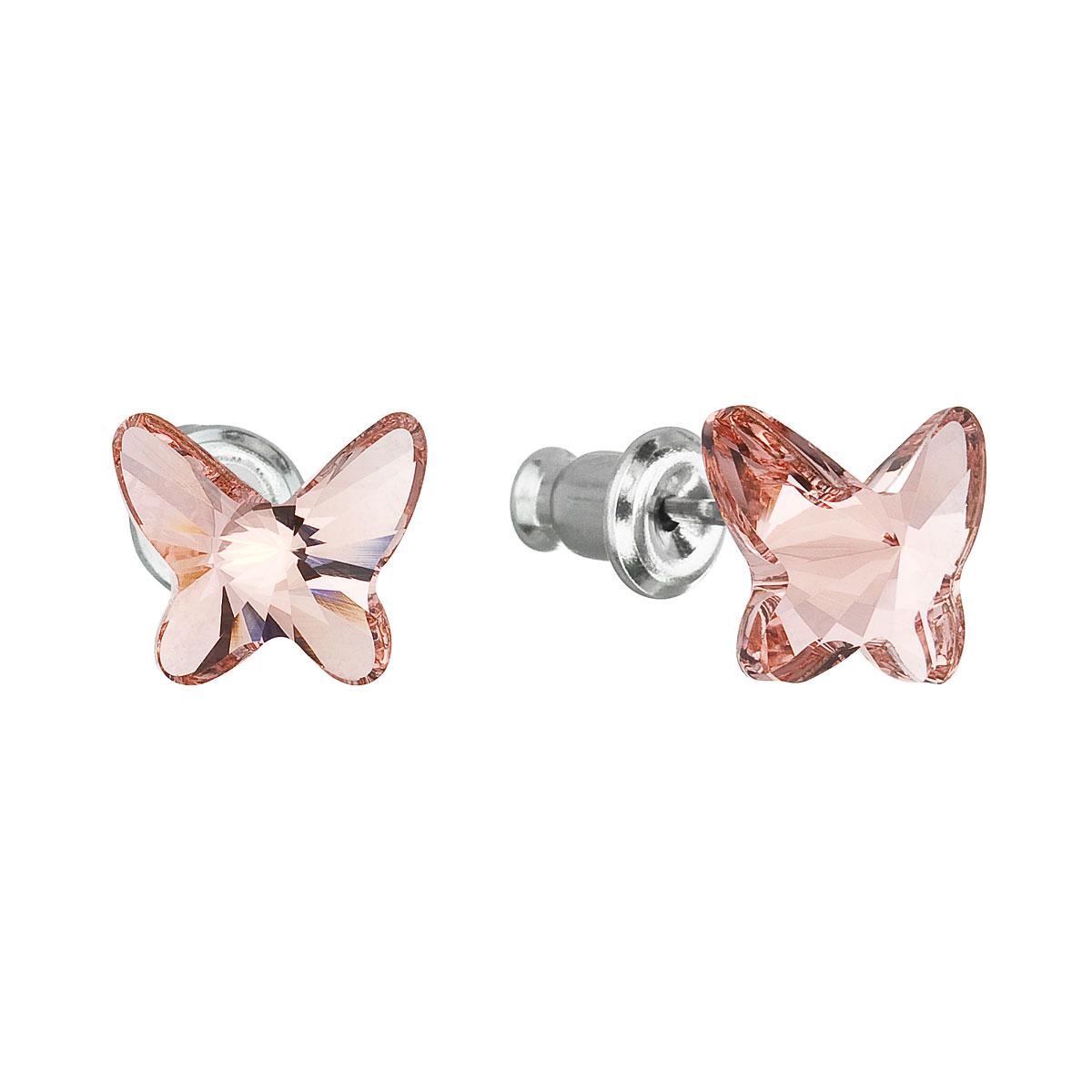 Náušnice bižutéria so Swarovski krištáľmi ružový motýľ 51048.3 rose peach