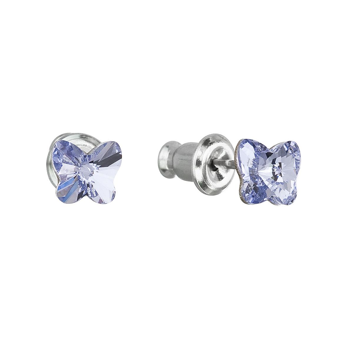 Náušnice bižutéria so Swarovski krištáľmi modrý motýľ 51049.3 lavender