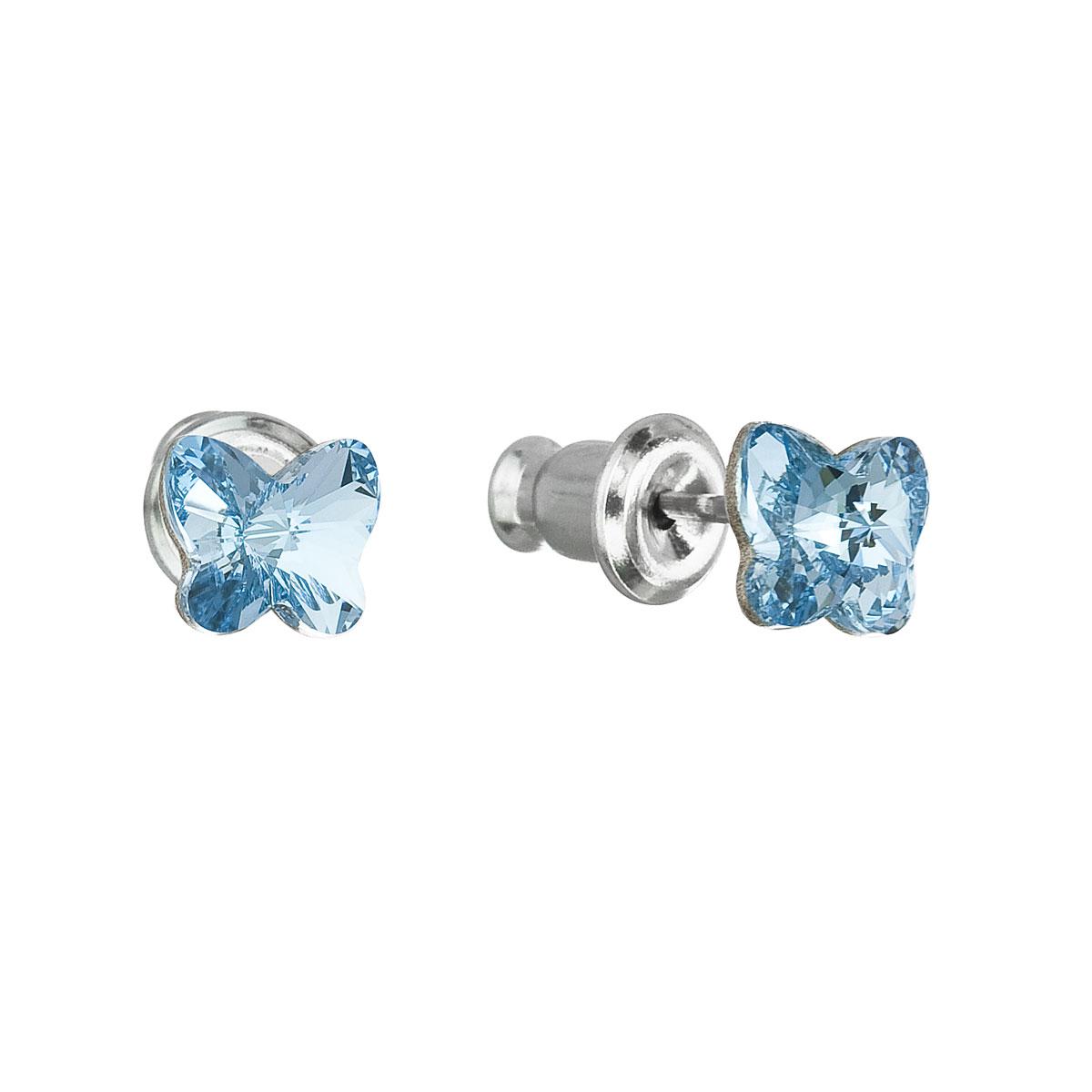 Náušnice bižutéria so Swarovski krištáľmi modrý motýľ 51049.3 aqua