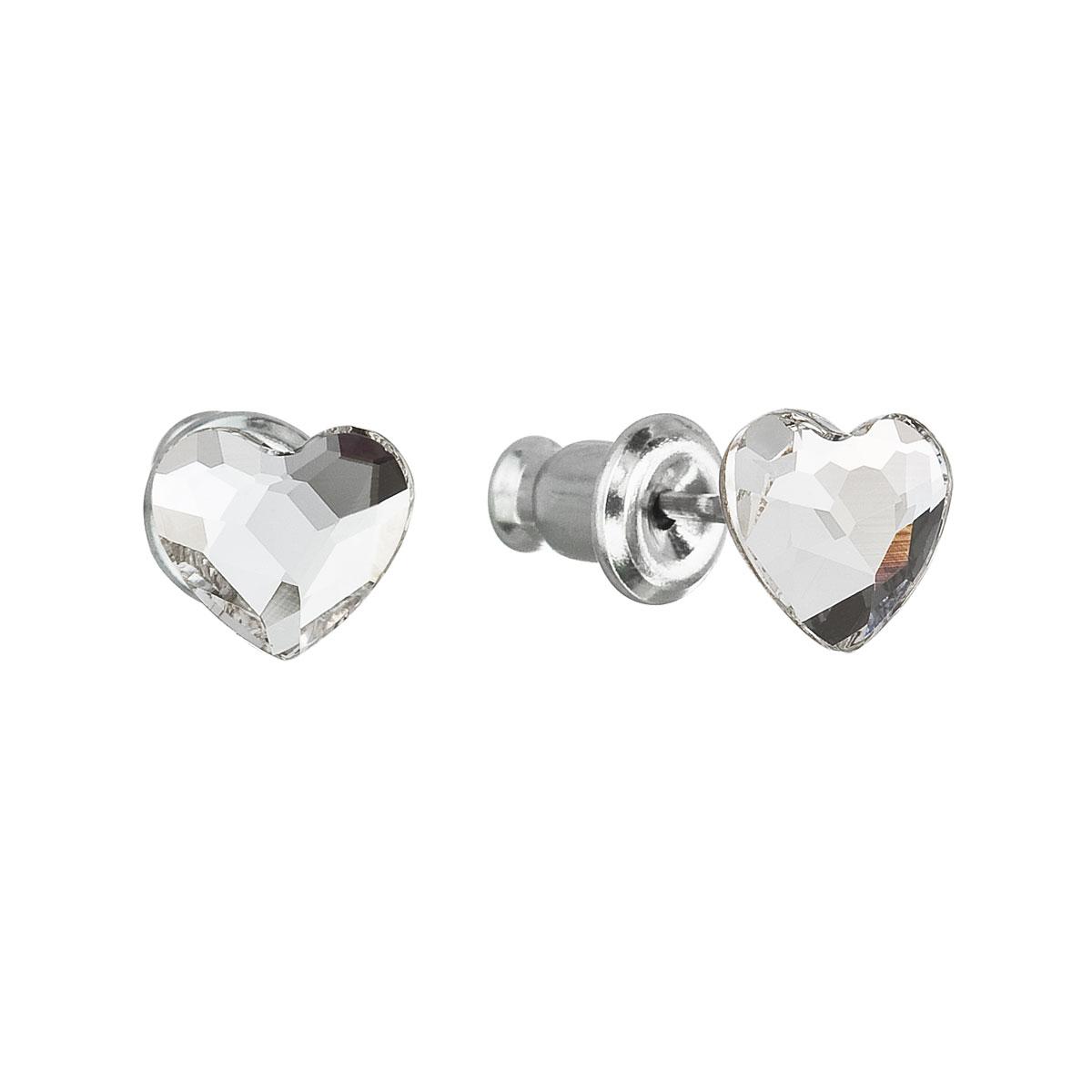 Náušnice bižutéria so Swarovski krištáľmi biele srdce 51050.1