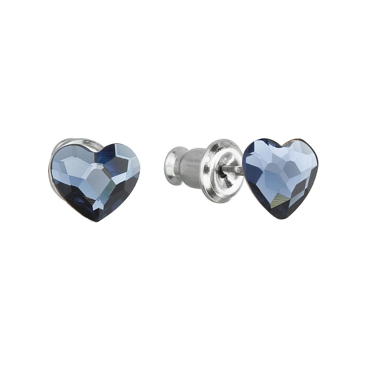 Náušnice bižutéria so Swarovski krištáľmi modré srdce 51050.3