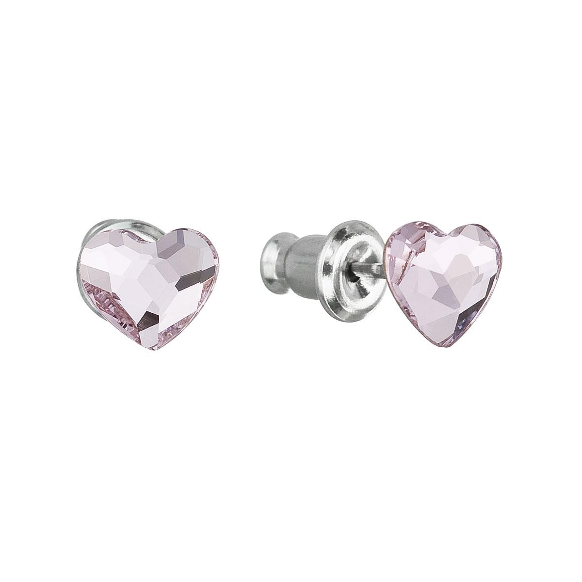 Náušnice bižutéria so Swarovski krištáľmi ružové srdce 51050.3 rose