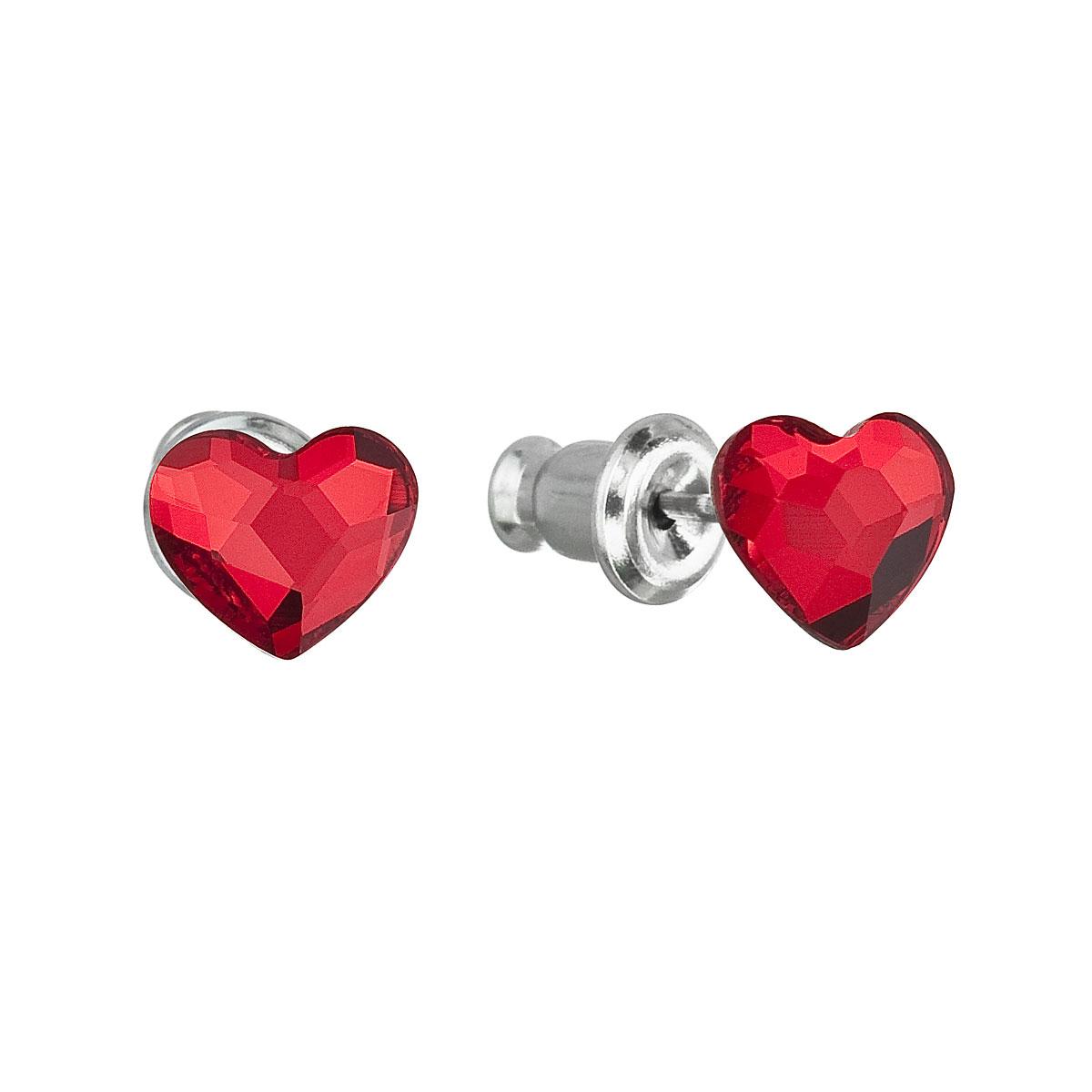 Náušnice bižutéria so Swarovski krištáľmi červené srdce 51050.3