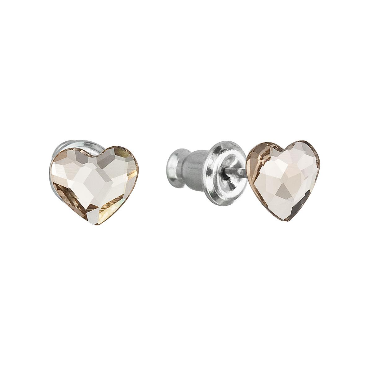 Náušnice bižutéria so Swarovski krištáľmi hnedé srdce 51050.3