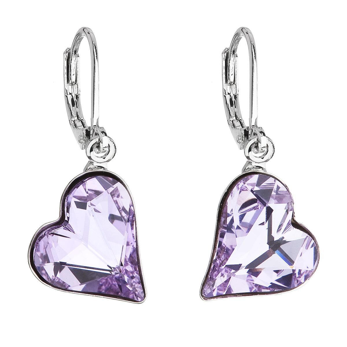 Náušnice bižutéria so Swarovski krištáľmi fialové srdce 51054.3