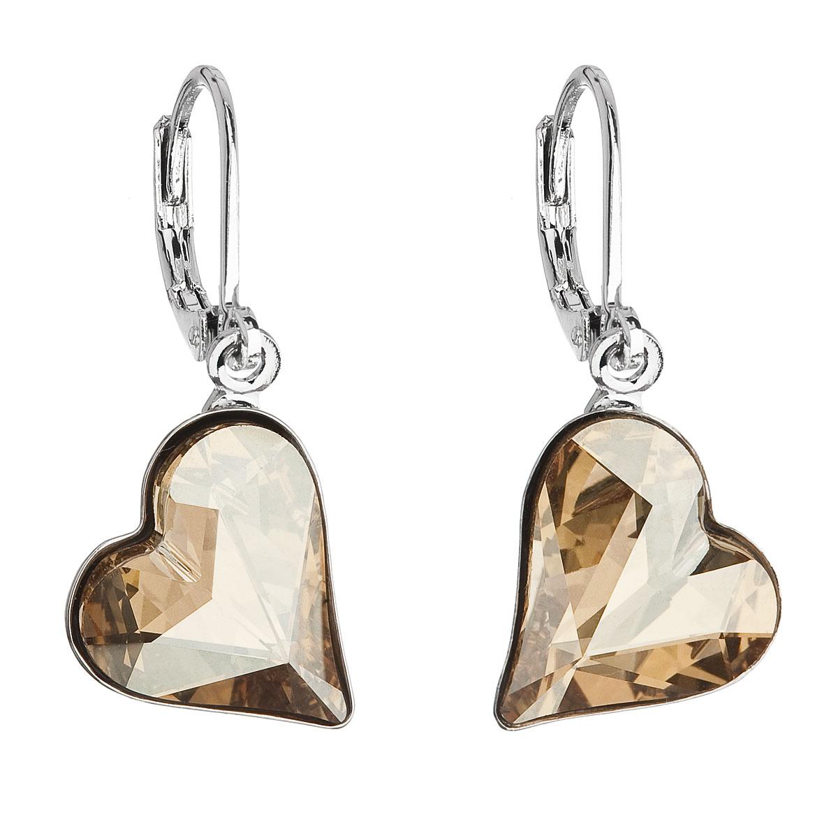 Náušnice bižutéria so Swarovski krištáľmi zlaté srdcia 51054.5