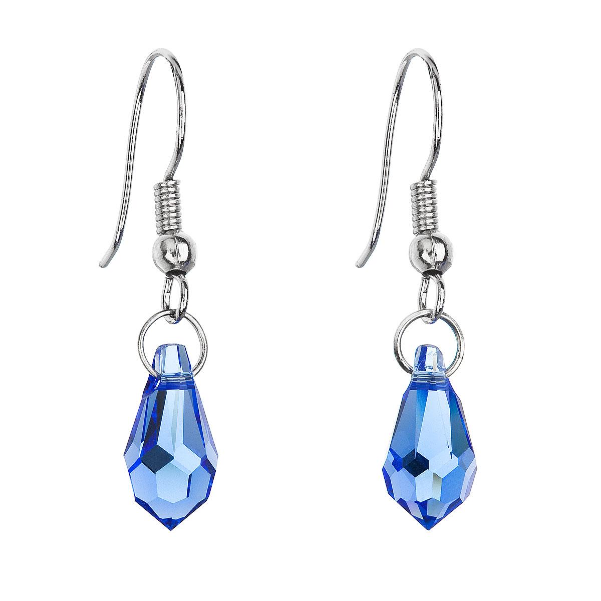 Náušnice bižutéria so Swarovski krištáľmi modrá slza 56005.3 sapphire