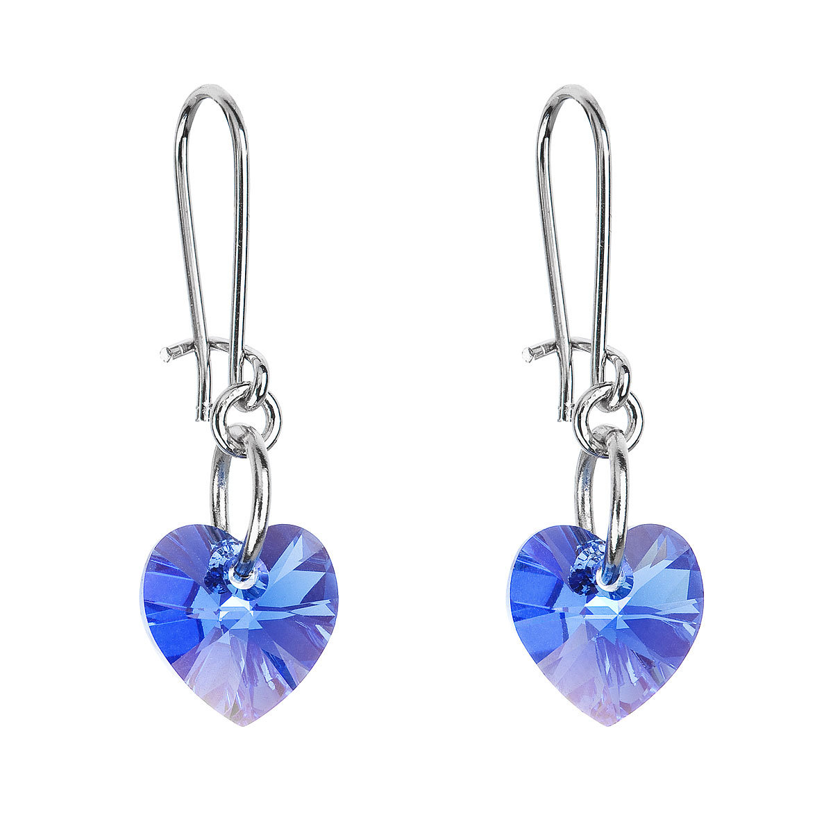 Náušnice bižutéria so Swarovski krištáľmi modré srdce 56006.3 sapphire