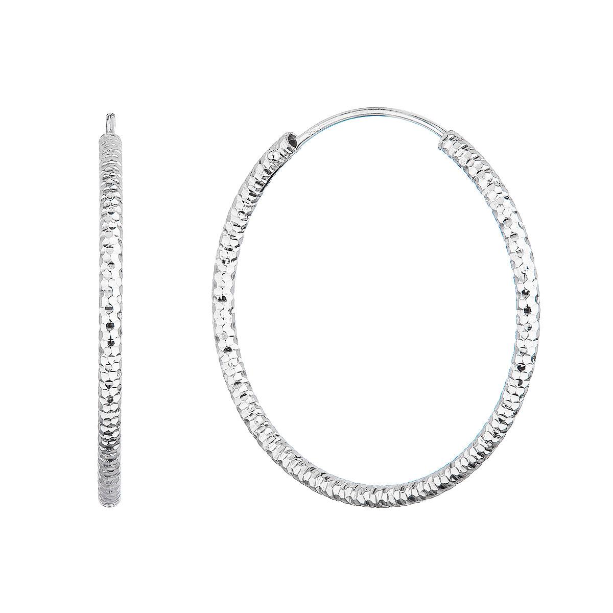 Strieborné náušnice kruhy s ozdobným prelisovaním 61006