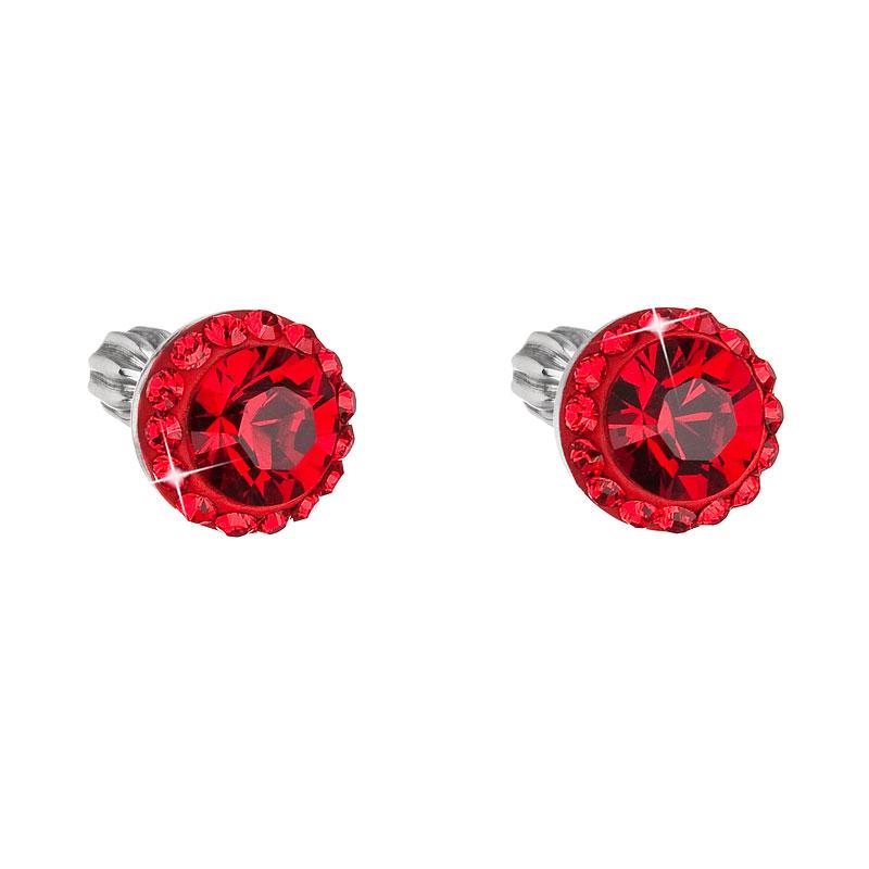 Strieborné náušnice kôstka s krištáľmi Swarovski červené okrúhle 71008.3