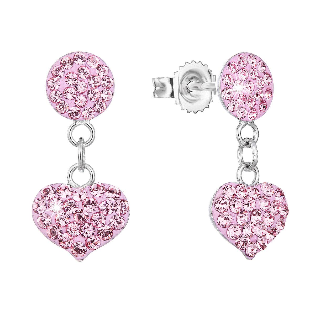 Strieborné náušnice visiace s krištálmi Swarovski ružové srdce 71073.3