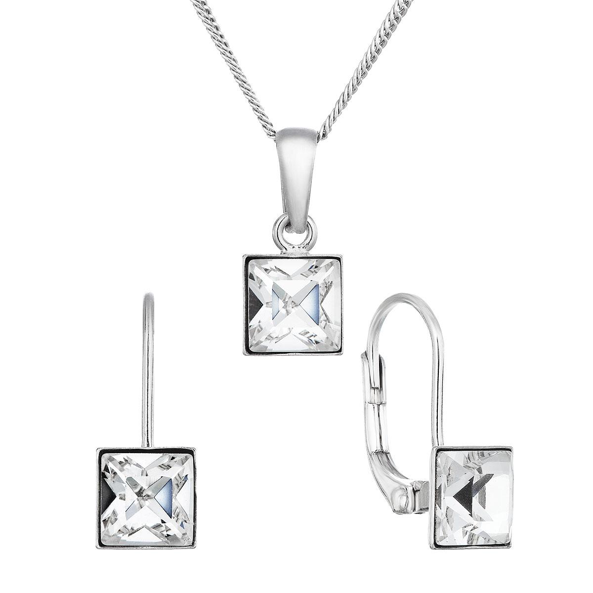 Sada šperkov s krištálmi Swarovski náušnice, retiazka a prívesok biela kostička 79037.1