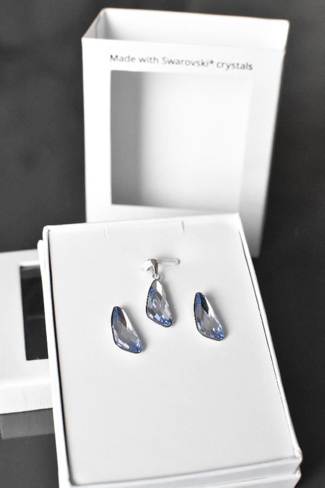 Sada šperkov s krištálmi Swarovski náušnice a prívesok fialové 79039.3