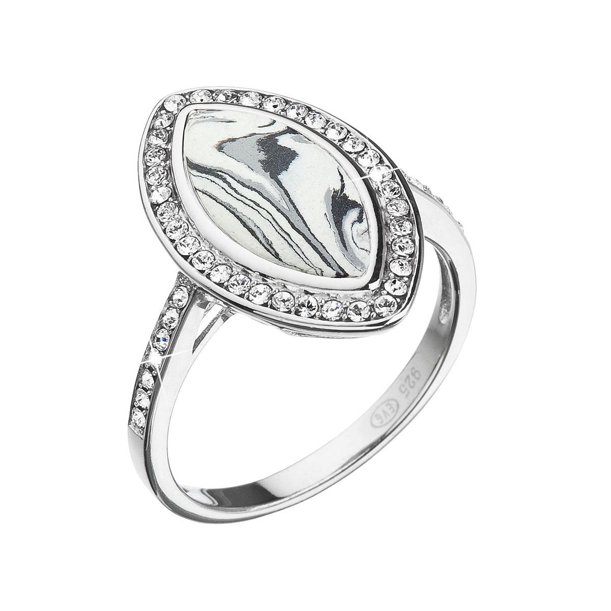 Strieborný prsteň ovál čiernobiely mramor so Swarovski kryštálmi 75013.1