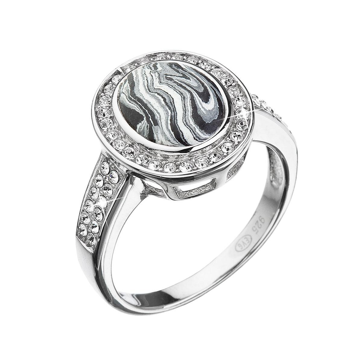 Strieborný prsteň ovál čiernobiely mramor sa Swarovski kryštály 75018.1
