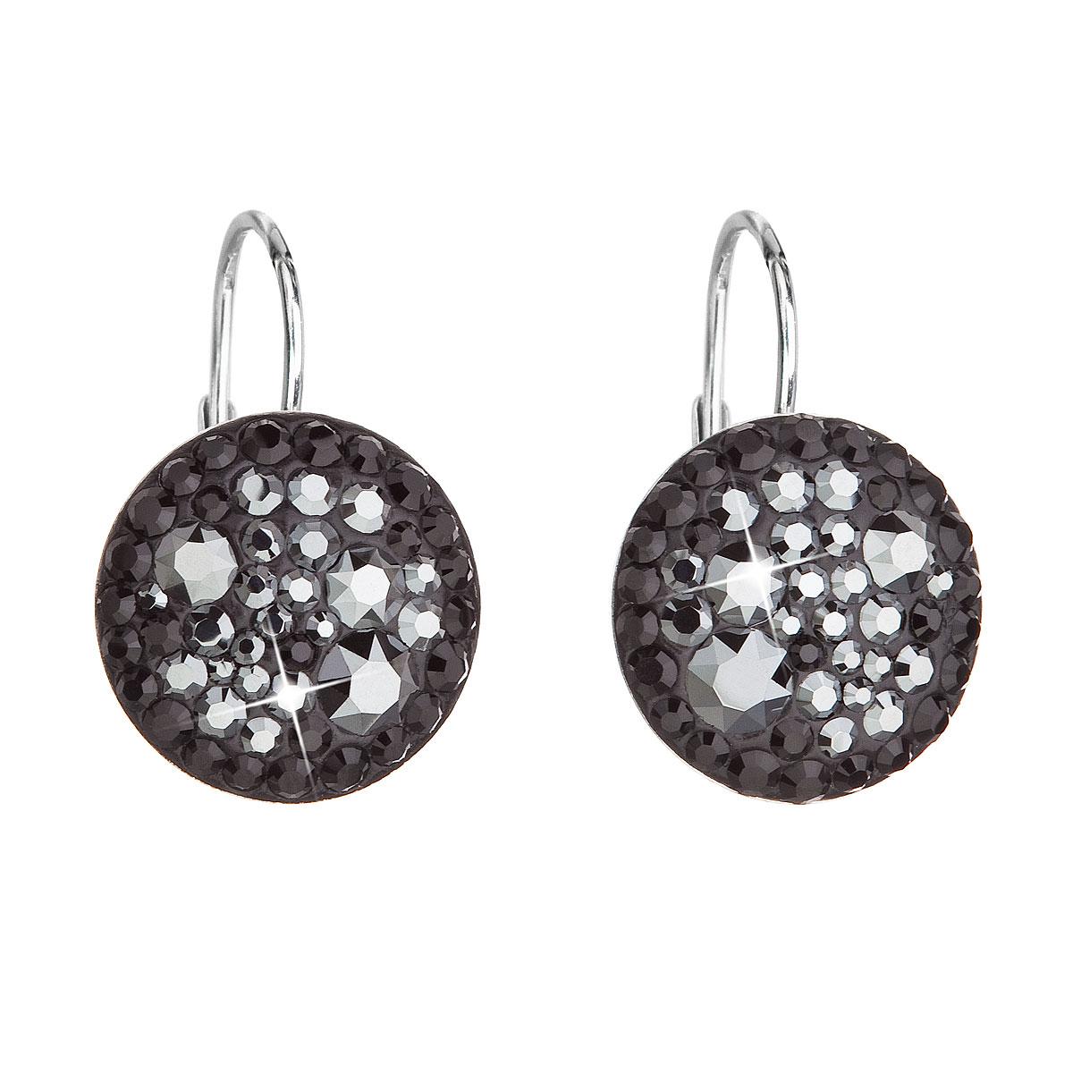 Strieborné náušnice visiace s krištálmi Swarovski čierne okrúhle 31176.5 hematite