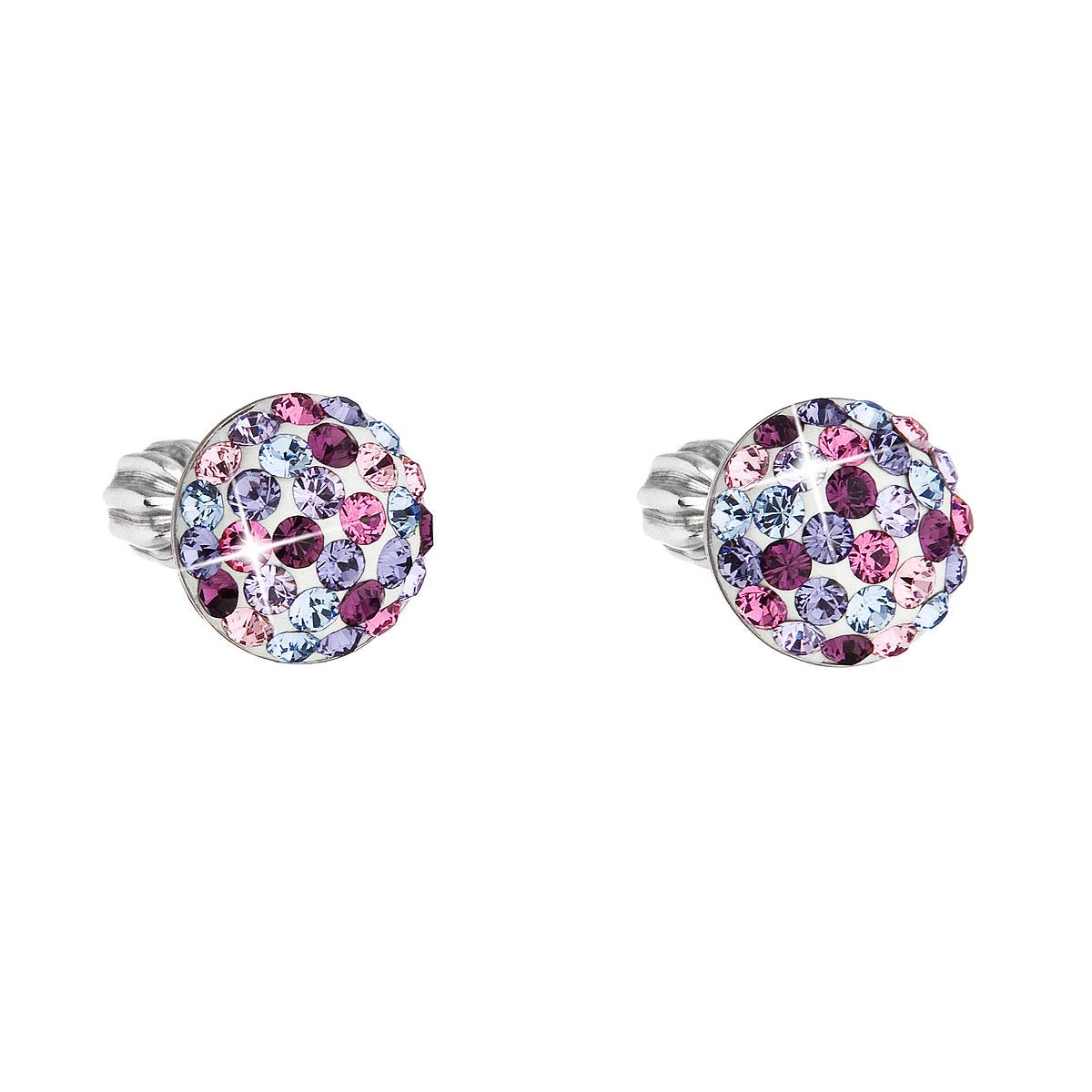 Strieborné náušnice perličky s krištálmi Swarovski mix fialové okrúhle 31336.3