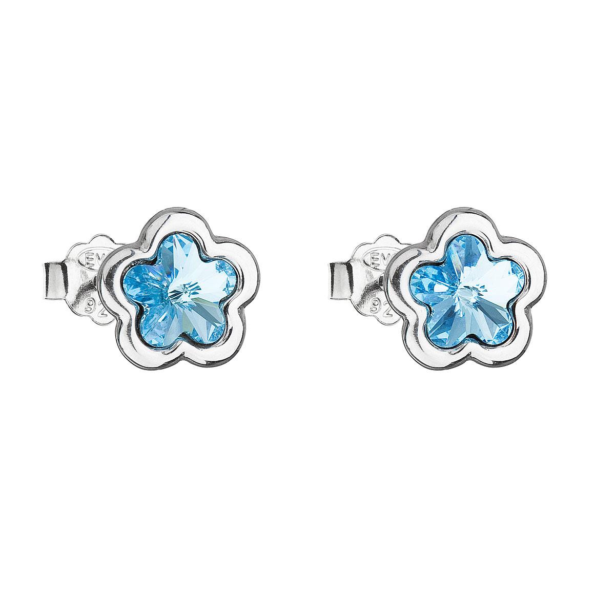 Strieborné náušnice perlička s krištálmi Swarovski modrá kytička 31255.3