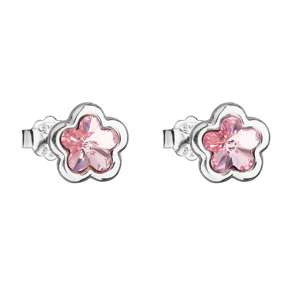 Strieborné náušnice perlička s krištálmi Swarovski ružová kytička 31255.3 light rose