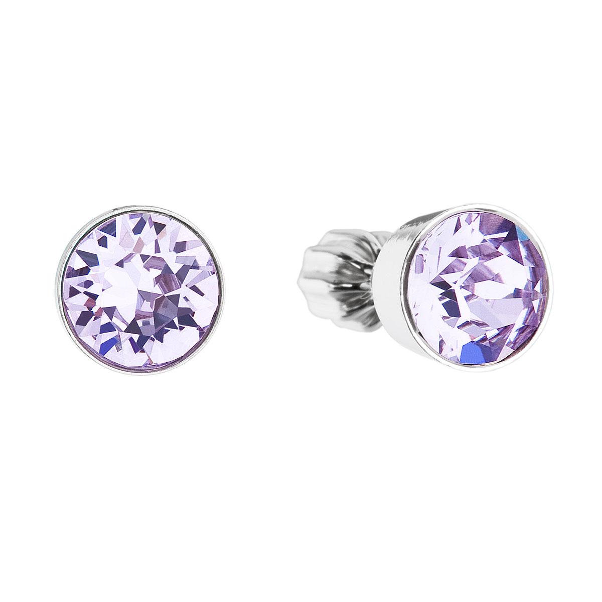 Strieborné náušnice kôstka s krištálmi fialové okrúhle 31113.3 violet