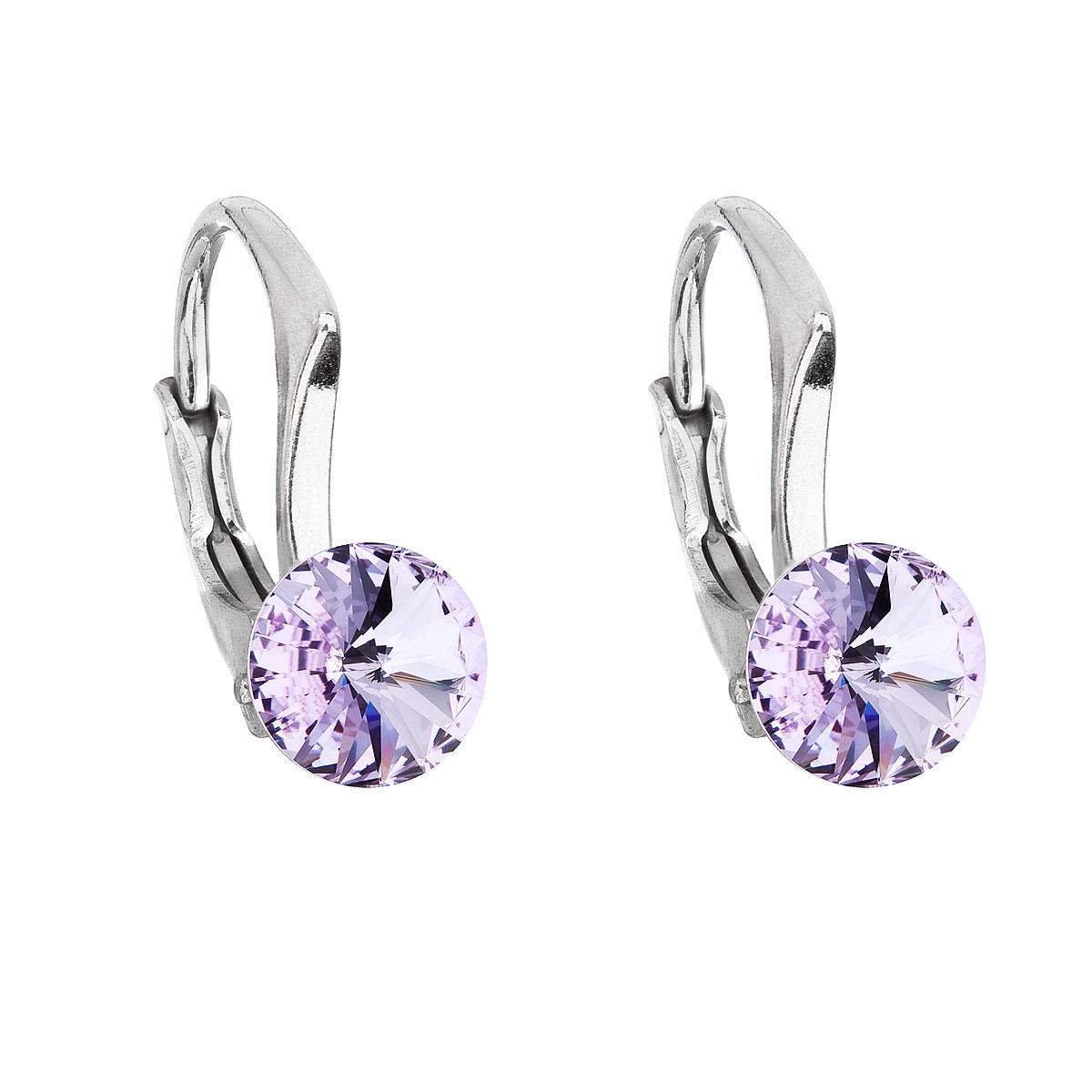 Strieborné náušnice visiace s krištálmi Swarovski fialové okrúhle 31230.3 violet