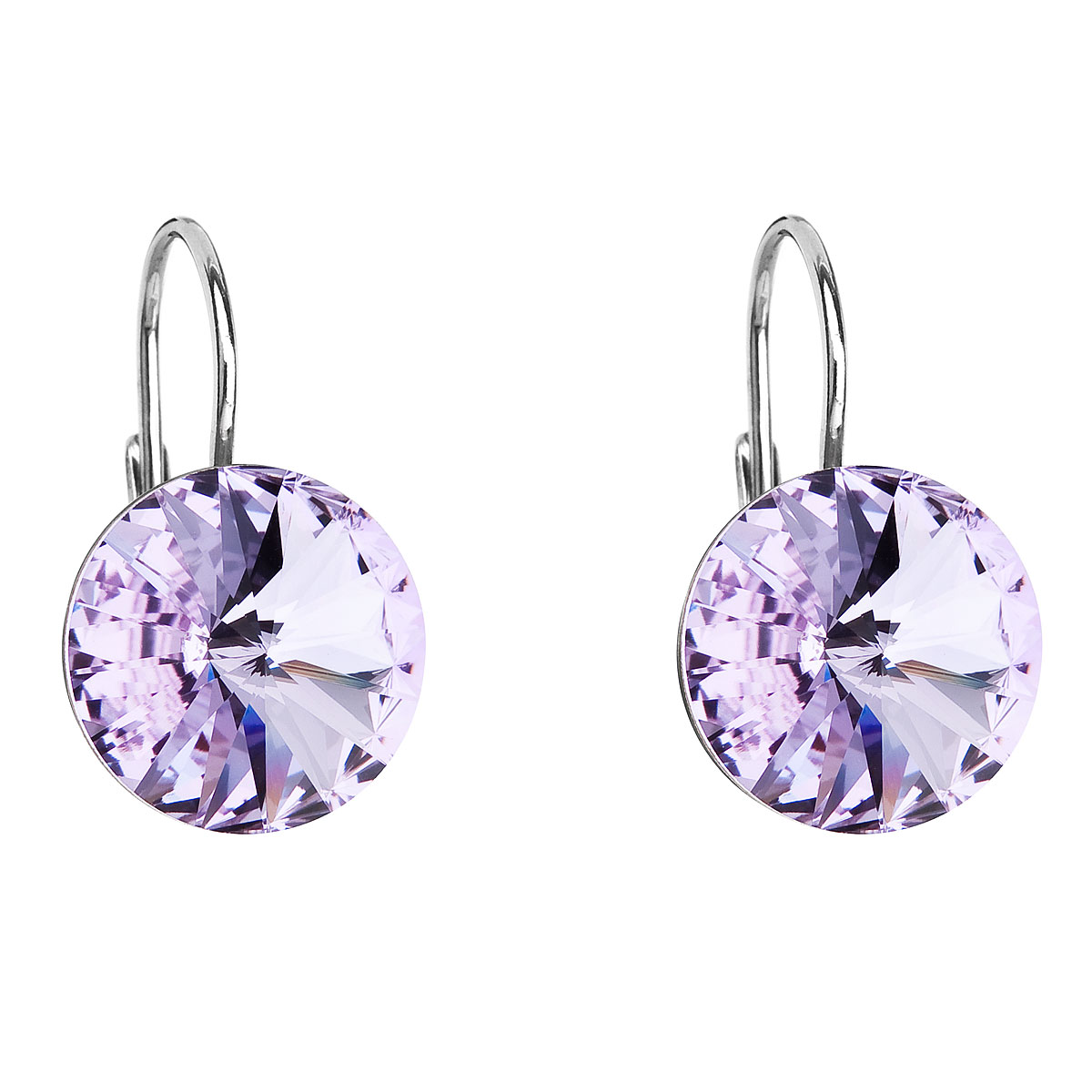 Strieborné náušnice visiace s krištálmi Swarovski fialové okrúhle 31106.3 violet