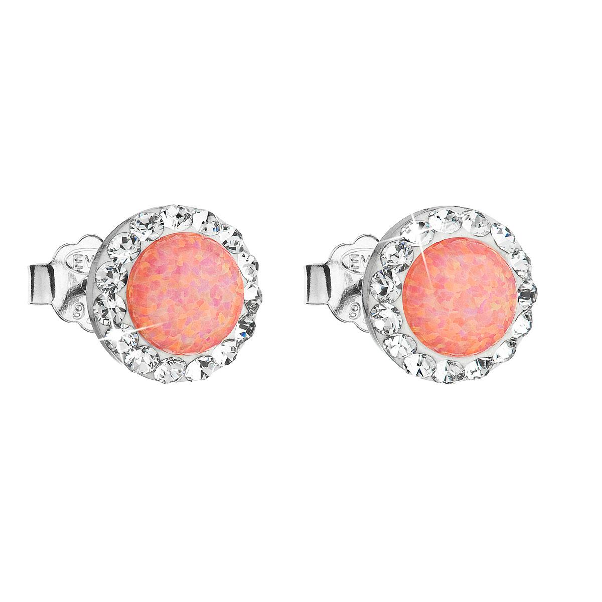 Strieborné náušnice perličky so syntetickým opálom a krištálmi Swarovski oranžové okrúhle 31217.1
