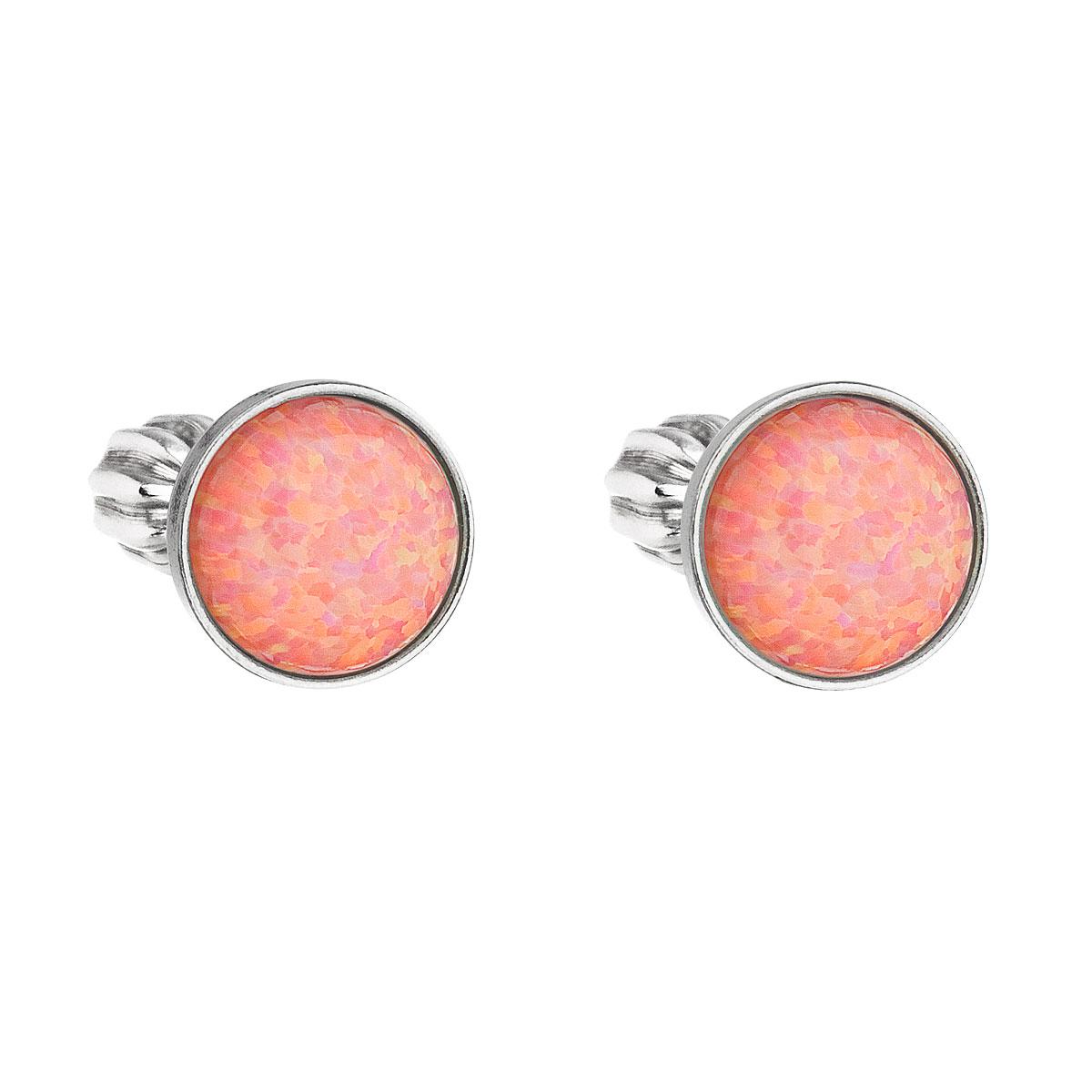 Strieborné náušnice perličky so syntetickým opálom oranžové okrúhle 11001.3