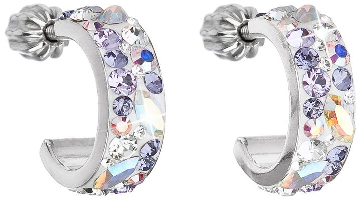 Strieborné náušnice kruhy s krištáľmi Swarovski fialový polkruh 31118.3  Violet 0ab448c16fa