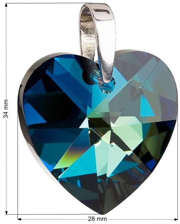 Strieborný prívesok s krištálmi Swarovski modré srdce 34004.5 ... 56f6787a571
