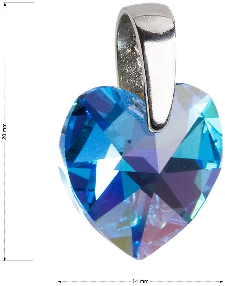 75f6aeb44 Strieborný prívesok s krištáľmi Swarovski AB efekt modré srdce 34003.4