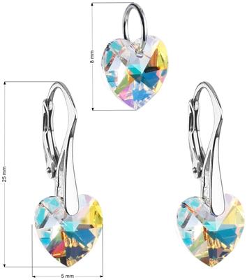 98a277038 Sada šperkov s krištáľmi Swarovski náušnice a prívesok AB efekt srdce  39003.2