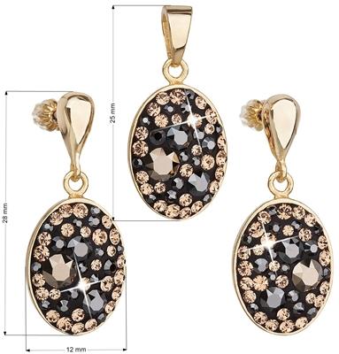 Sada šperkov s krištálmi Swarovski náušnice a prívesok mix farieb čierna  hnedá zlatá ovál 39150.4 ee6bf7583ed