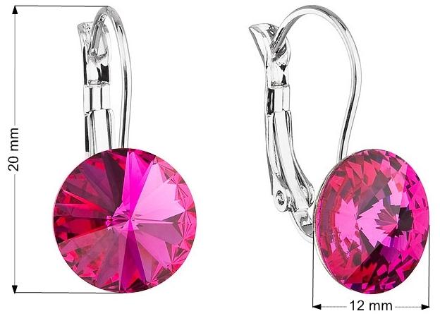 Náušnice bižutéria so Swarovski krištáľmi ružové okrúhle 51002.3 fuchsia e1b9621b5df